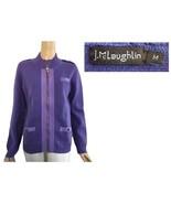 J. McLaughlin Purple Knit Contrast Fabric Trimmed Zip Cardigan M - $72.00