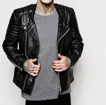 New Men's Genuine Lambskin Leather Motorcycle Jacket Slim fit Biker Jacket NF2 - $69.99+