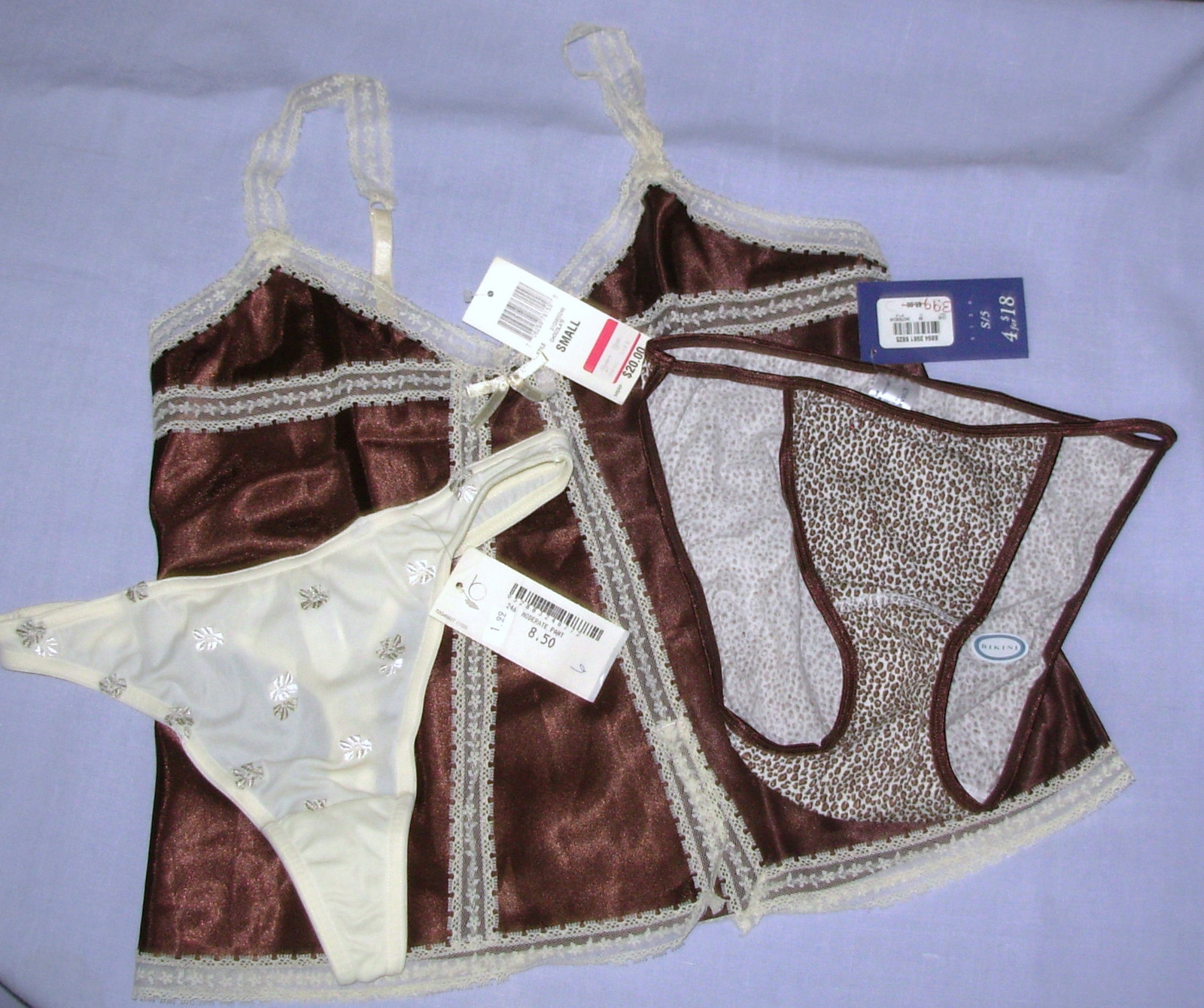 New sz S Camisole String Bikini Panties brown animal Charter Club Morgan Taylor