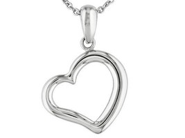 """Polished Stainless Steel *HEART PENDANT w/18"""" Chain   Nice simple piece ... - $11.87"""