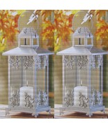 "10 WEDDING SILVER SCROLLWORK CANDLE LANTERN CENTERPIECE 15"" TALL - $268.00"