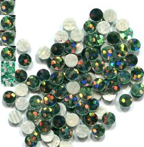 HOLOGRAM SPANGLES Hot Fix  EMERALD  Iron on  6mm 1 gross - $4.72