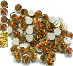 HOLOGRAM SPANGLES Hot Fix  GOLD  Iron on  10mm 1 gross - $6.99