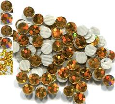 HOLOGRAM SPANGLES Hot Fix  GOLD  Iron on  6mm 1 gross - $6.29