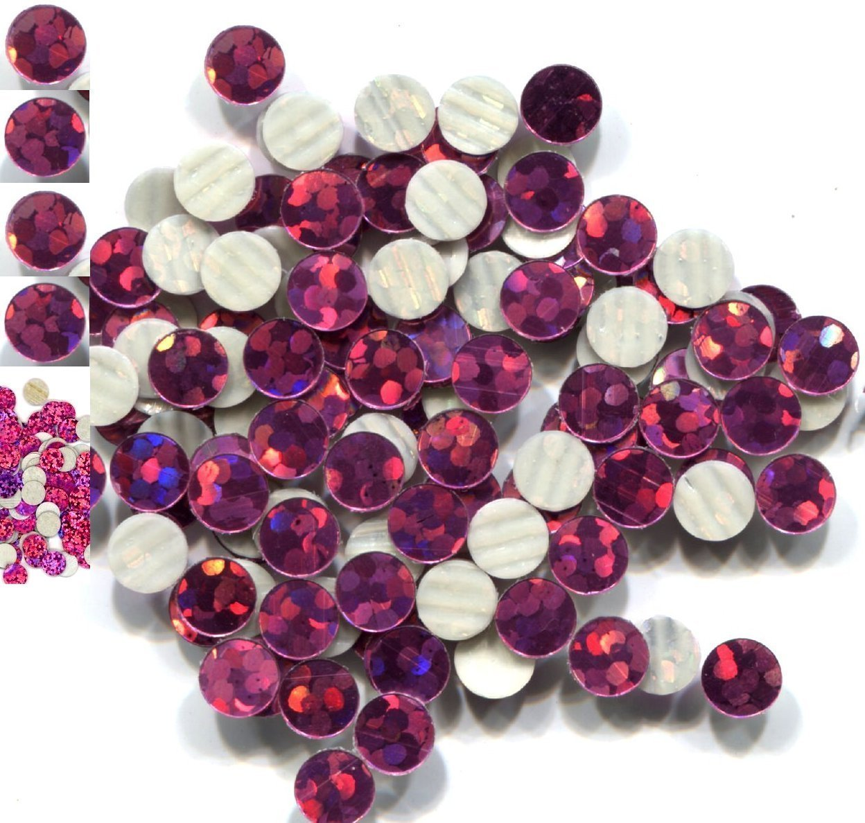 HOLOGRAM SPANGLES Hot Fix  ROSE  Iron on  4mm 1 gross