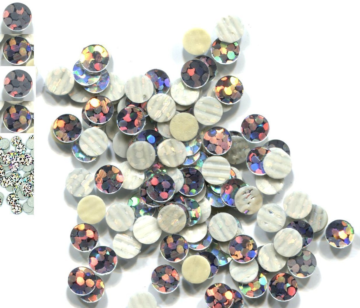 HOLOGRAM SPANGLES Hot Fix  SILVER  Iron on  10mm 1 gross