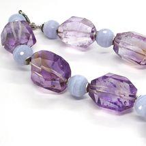 Halskette Silber 925, Fluorit Oval Facettiert Violet, Kugel Chalcedon image 4