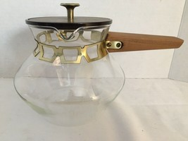 Vtg Glass Coffee Tea Carafe Atomic Cutwork Gold Metal Wood Handle Pitche... - $28.84