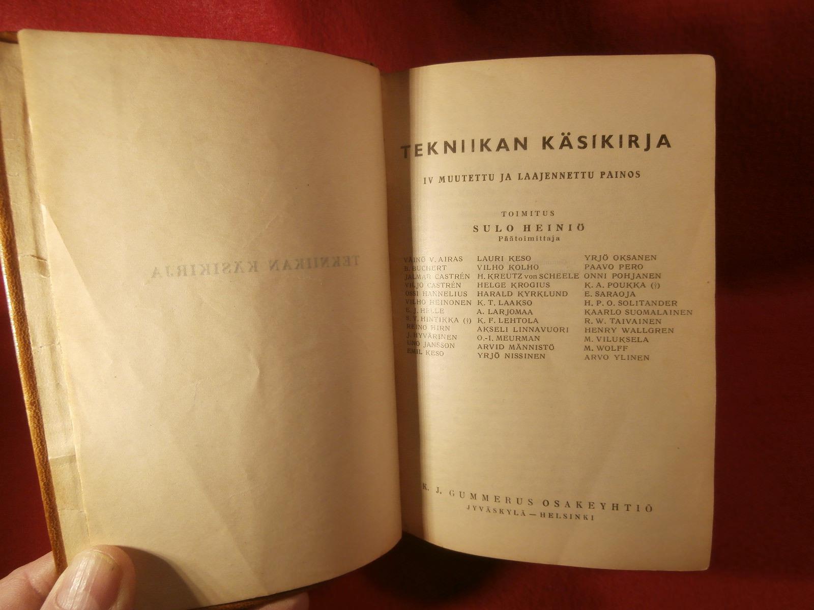 Tekniikan Kasikirja by K J Gummerus Soft Leather Bound 1st Edition