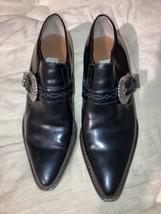 VTG Nine West Black Leather Gretta Buckle Winklepicker Womens Creeper Shoes sz 6 - $94.95