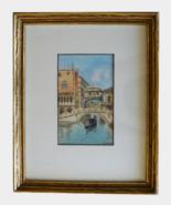Alberto Trevisan Original Framed Watercolor Bridge Of Sighs Venice Italy - $125.00