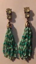 "3.5"" Aqua and Mint Seed Bead Tassle Pierced Earrings with 2 Rhinestones - $6.92"