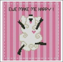 Ewe Make Me Happy mini cross stitch chart Pinoy Stitch - $5.40