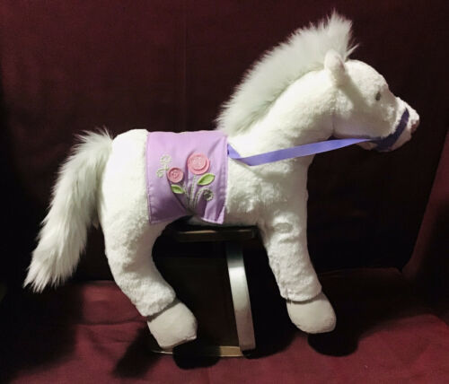 "Primary image for Pottery Barn Kids PBK 16"" White Horse Push Purple Reins Saddle Flowers Toy"