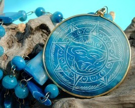 Vintage Carved Blue Agate Mexican Aztec Sundial Necklace  - $34.95