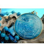 Vintaage carved blue agate mexican aztec necklace thumbtall