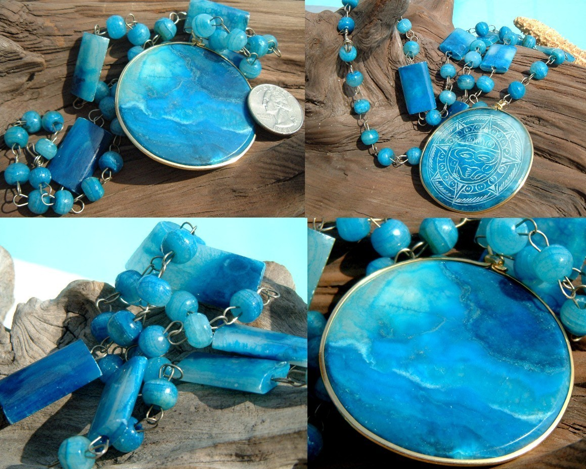 Vintage Carved Blue Agate Mexican Aztec Sundial Necklace