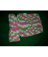 Crocheted Dish Clothes Cotton Set 2 Sage Green Peach Cream - $5.70
