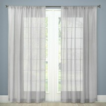 "Threshold Sheer Linen Curtain Panel Covering Gray Grey - 108""L - New - $19.00"
