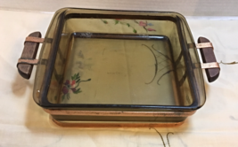 Vintage Copper & Wood PYREX Casserole Carrier With Brown Glass Pyrex Dish - $12.10
