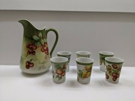 Hand Painted Beverage Pitcher with Cherries and Flowers 6 matching cups - $123.74