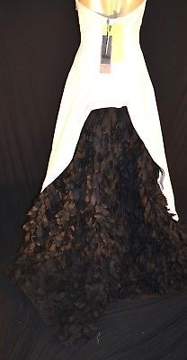 NEW BCBG Max Azaria ATELIER Dress maxi bridal GOWN Black and white *4 (#A62)