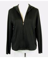 LANDS' END Size M 10-12 Black Hooded Sporty knit Jacket Stretch Active - $18.99