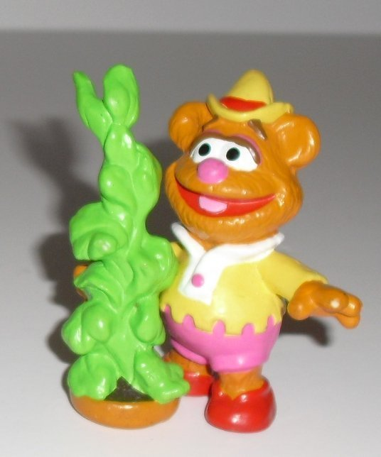 "MUPPETS PVC Figure FOZZIE w/plant 3"", 1989 HA Applause"