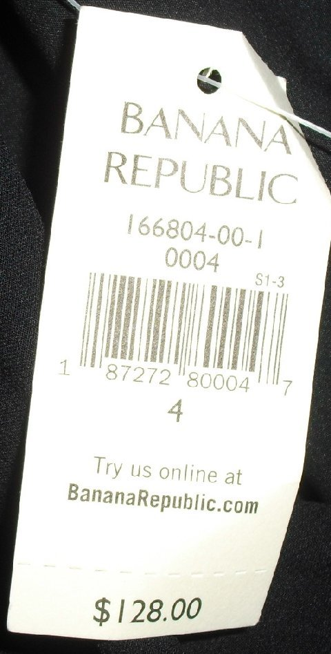 NWT $128.00 BANANA REPUBLIC black silk Dress size 4