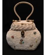 Vintage Midas of Miami Wicker Beaded Handbag 1950's Retro Rockabilly - $88.60