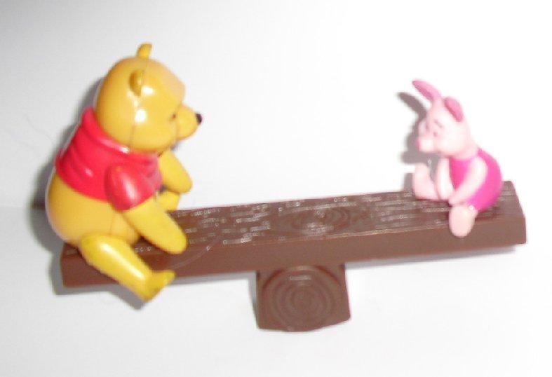 "POOH & Piglet on seesaw PVC Figure 4"" Disney Deco Pac"