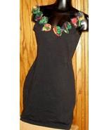 Vintage 80s VANITY Black BANDAGE Mini Dress Punk sz M bows - $43.99