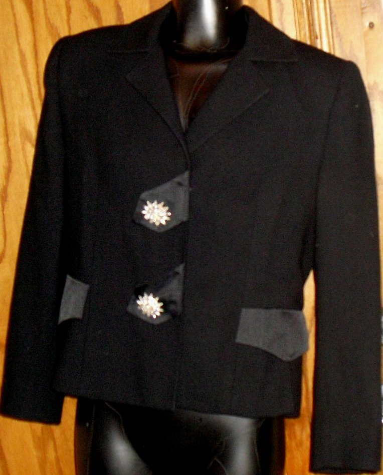 Vtg ILIE WACS blazer jacket size 8 rhinestone buttons