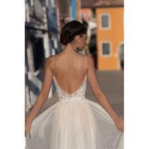 High Waist V- Neck Spaghetti Strap Backless Tulle A-Line Princess Wedding Dress image 3