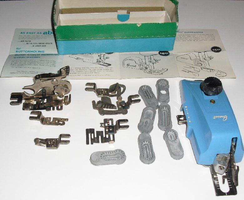 Vtg Sewing lot GREIST bottonholer ruffler & attachments