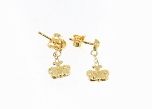 18K YELLOW GOLD EARRINGS WITH VERY SHINY BUTTERFLY WORKED MADE IN ITALY 0.51 IN