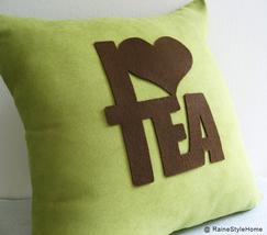 I Love Tea Dusty Green And Brown Pillow Cover.Cozy Tea Time - $28.90