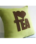 Handcut I Love Tea Dusty Green And Brown Pillow Cover. Tea Time Cushion ... - $39.90