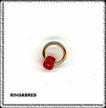 RED  AB  Security Ring w BEAD Nail Dangle art charm - $2.99