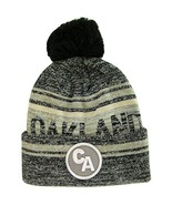 Oakland CA Patch Fade Out Cuffed Knit Winter Pom Beanie Hat (Black/Gray) - $11.95