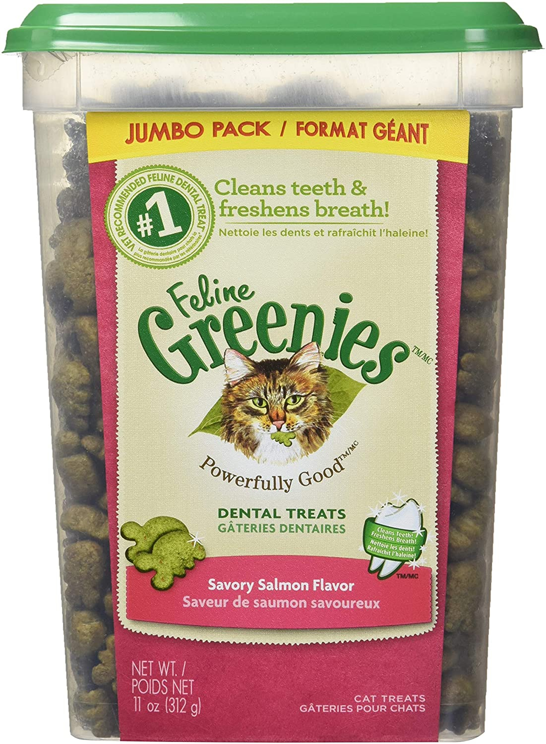 Primary image for FELINE GREENIES Dental Treats For Cats Savory Salmon Flavor 11 Ounces