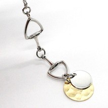 925 Silver Necklace, Oval Chain, Double Disc Pendant, Polished and Hammered image 2