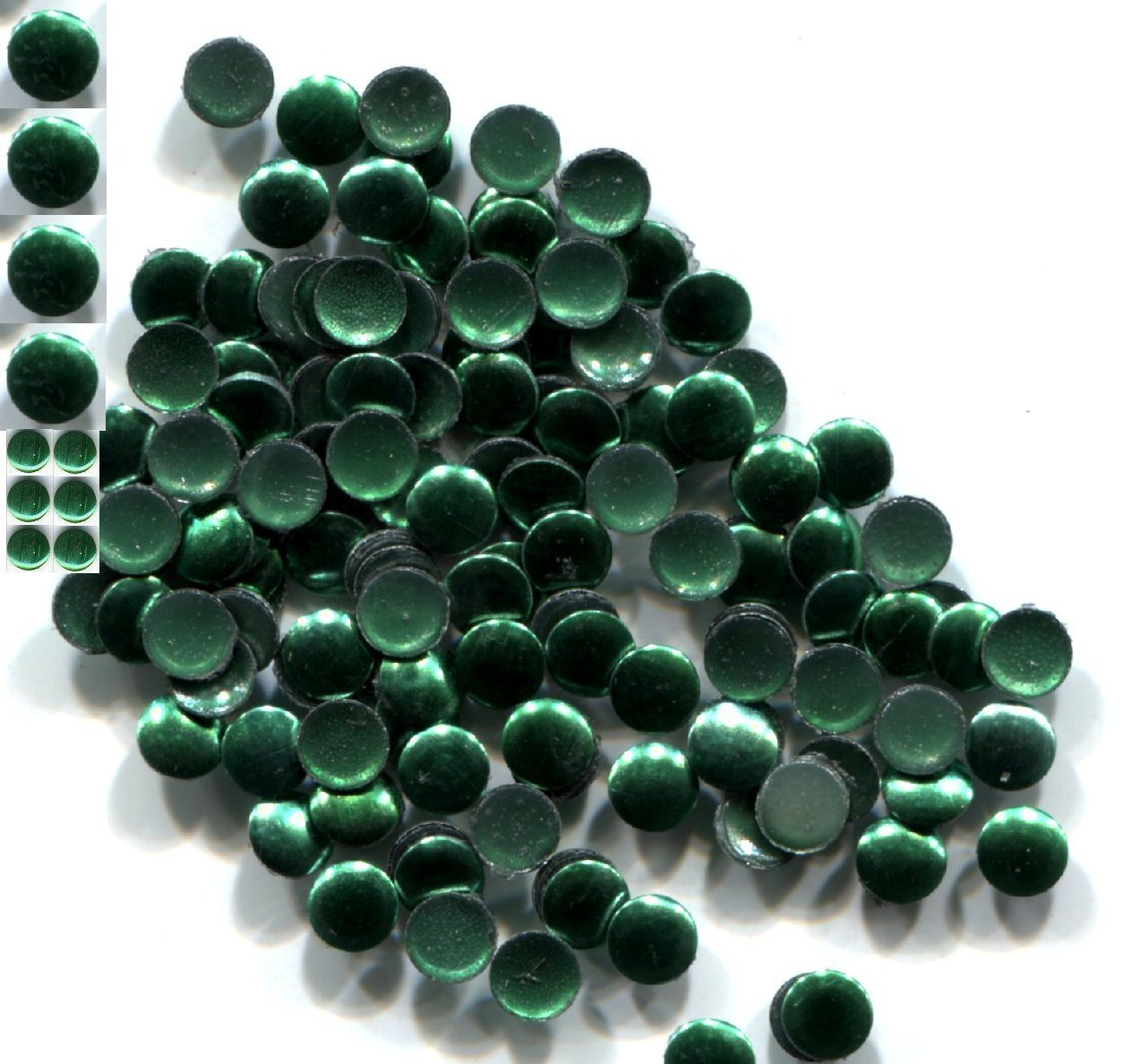 Primary image for ROUND Smooth Nailheads 3mm Hot Fix EMERALD color 144 PC  1 gross