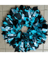 "CAROLINA PANTHERS  16"" Ribbon Wreath Custom Made For Each PANTHER Fan - $50.00"