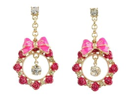 BETSEY JOHNSON Rose Garden Bow/Rose Round Drop Earrings  $45 NWT - $20.88
