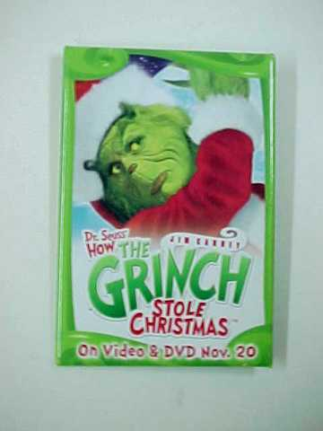 Vintage 2001 How The Grinch Stole Christmas Advertising Promo Pinback Button