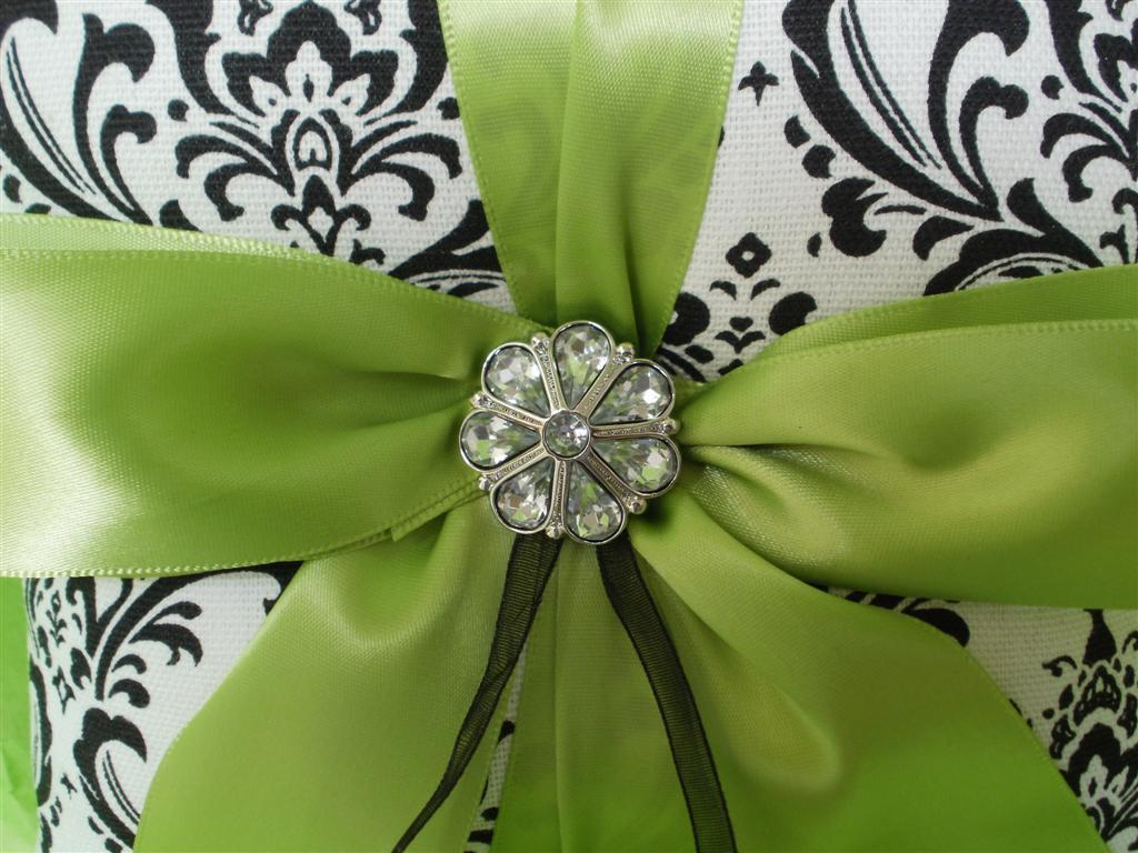 Black and White Madison Damask with Teal Wedding Ring Bearer Pillow and Flower Girl Basket