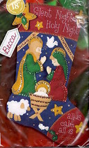 Bucilla Silent Night Manger Nativity Sheep Christmas Felt Stocking Kit 85173 - $57.95