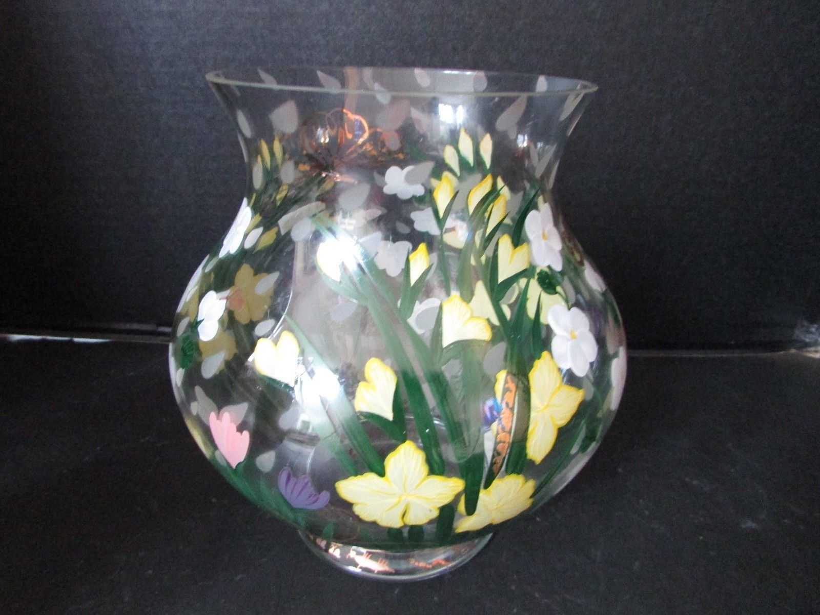 """LENOX APRIL FLOWERS MAY SHOWERS VASE HAND PAINTED 7.75"""" ARTIST SIGNED PEGGY WALZ"""