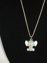 New Betsey Johnson Turquoise Rhinestone Elephant Pendant Chain... - $24.50